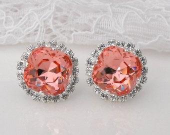 Peach Earrings Peach Blush Coral Wedding Coral Bridesmaids Peach Bridesmaids Peach Wedding Swarovski Crystal Silver Beach Bridal Earrings