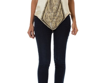1920s Silk Beaded Top SIZE: S, 4