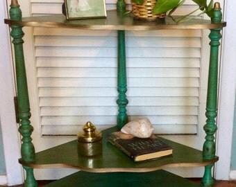 Vintage Green Corner Shelf Table
