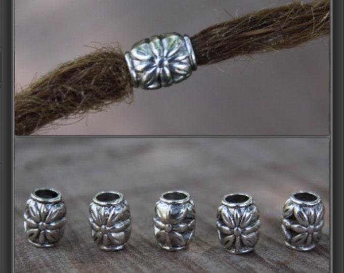 10 Tibetan Style Silver Flower Dreadlock Beads 4.5mm Hole (3/16 Inch)