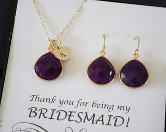 6 Purple Initial Bridesmaid Necklace and Earring set, Bridesmaid Gift, Plum Gemstone, 14k Gold Filled, Initial Jewelry, Personalized