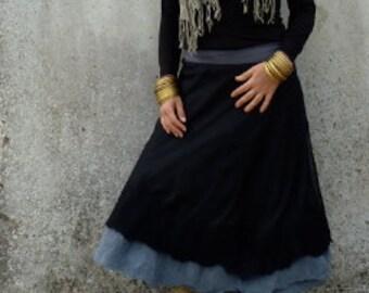 Black nuno felt wrap skirt ~ Elfnfelt ~ Gypsy style ~ ALL sizes ~Wrap around Skirt