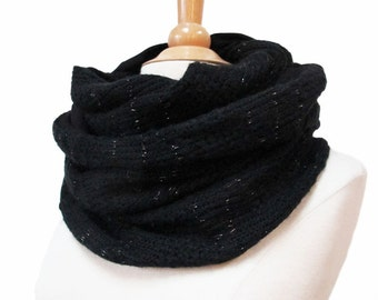 handmade infinity scarf circle snood black simple plain wool fabric jersey knit