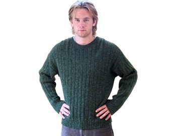 Men's Eddie Bauer Sweater, Dark Green Sweater, 90s Wool Blend Pullover Jumper, Slouchy Sweater M L