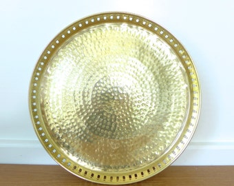 Round hammered brass gallery tray, 11 inches