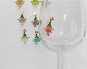 Unique Wine Glass Charms, Magnetic, Stemless Glass Wine Charms, Beverage Charms, Bridal Shower Wine Glass Charms, Stemware Charms, WC200