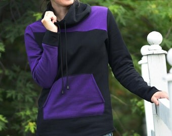 Black and purple hoodie with big collar