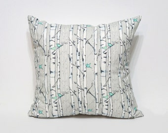 Teal and Grey Birch Trees and Birds Pillow Cover - Watercolor Pillow - Watercolor Decor - Watercolor Birds - Modern Home Decor