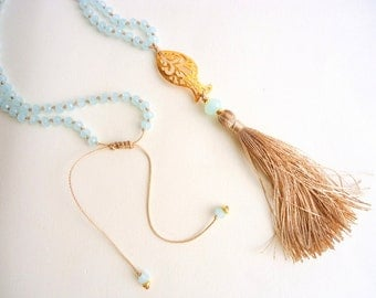 Tassel necklace, Pale blue necklace, Rosary necklace, pastel necklace, boho necklace, fish necklace, beach necklace, summer trends 2018