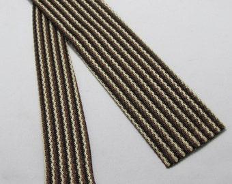 Vintage Mens Tie -- 1950s Black and Brown Skinny Square End Knit Tie by Arco -- Rockabilly Fav