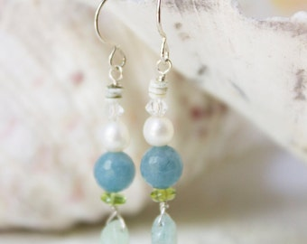 Aquamarine Jade Pearl Peridot Shell and Swarovski Crystal Earrings with Sterling Silver French Ear Wires Ocean Color Beach Earrings