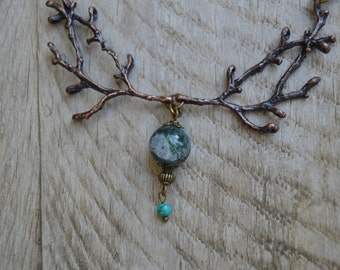 Earthy jewelry, brown twig necklace rustic necklace, statement moss agate necklace organic rustic jewelry twig jewelry moss agate jewelry
