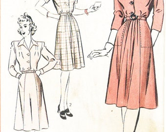 Hollywood 1023 Misses' Vintage 1940s Shirtwaist Dress Featuring Gale Sondergaard Sewing Pattern