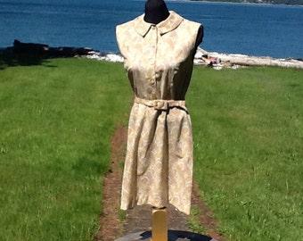 Handmade Sixties Soft Cotton Pretty Paisley Belted Shirt-waist dress