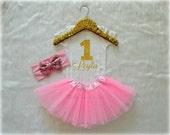 Baby Girl First Birthday Onesie, Light Pink and Gold with Custom Name, 1st Tutu Headband Set, Short and Long Sleeve Bodysuit Tshirt