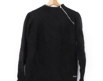 GUESS COLLECTION Vintage Black Wool Sweater Jumper with Zip, sz. M
