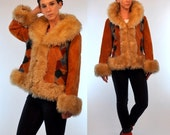 Vintage 70s Almost Famous Shearling Fur + Faux Suede Patchwork Huge Collar + Cuffs dress Jacket. boho hippie Princess coat. Small - Medium