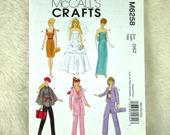 Fashion Doll Clothes Pattern, McCalls M6258 Crafts, Evening, Bridal, Cape Dress Pants, Casual, 2010 Uncut, 11 Inch Dolls