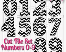 Chevron Numbers Cut File Set--Includes 0 through 9! SVG PNG & JPG formats all included! Chevron Numbers Cut Files Great for Birthday Shirts!