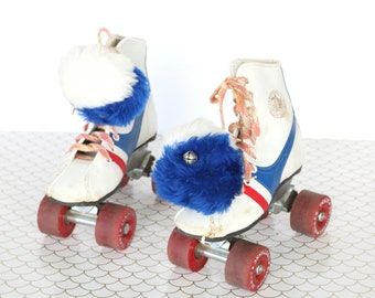 Fireball - Vintage Red, White, and Blue Roller Derby Urethane Skates, Children's Size 13, with Blue and White Pom Pom Jingle Bell Accessory