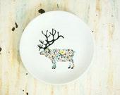 Hand painted porcelain plate - wildflower dear