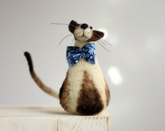 Needle Felt Cat - Siamese Cat With A Blue Eyes And  Tie - Needle Felt Cat - Needle Felt Art Doll - Cat Art Doll - Summer Home Decor - Boho