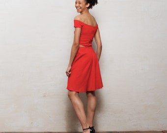 Minnie Off-the-Shoulder Cut-Out Skater Dress, Bright Red Casual Knee Length Sun Dress, Womens Summer Bandeau Midi Dress