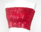 Vintage 80's red sequined tube top. Glamour Beaded sequin crop top.  Party,Disco, cocktail blouse.Bandeau Top,Sleeveless top