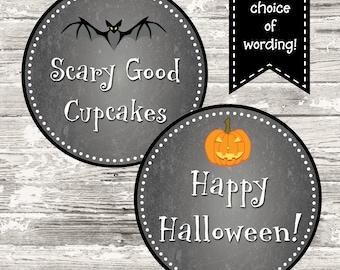 Halloween Chalkboard Tag or Cupcake Toppers Printable
