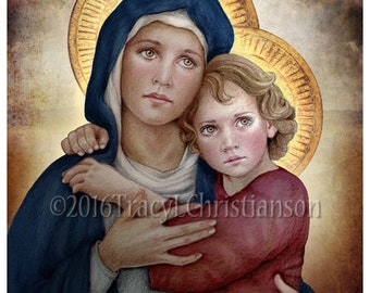 Our Lady of Good Counsel Catholic Art Print Blessed Virgin Mary, Jesus #4277