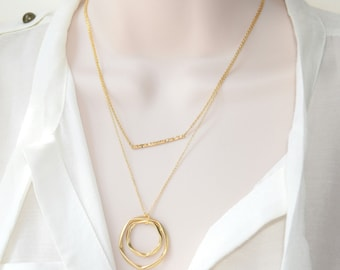 Thin Hammered Bar Necklace, Gold Jewelry, Gold Necklace