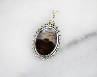 Agate and Diamond Pendant, One of a Kind in Silver 0JMN40-R