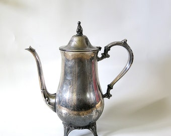 Vintage Silver Teapot, Tarnished, Shabby, Silverplate, Tea Party, Distressed