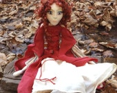 Queen Guinevere ooak art doll inspired by Avalon and Camelot tales, middle age dressed