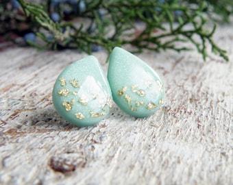 Mint wedding earrings Drops Mint gold stud earrings Surgical steel Post earrings Bridesmaid earrings Wedding jewelry Polymer clay earrings
