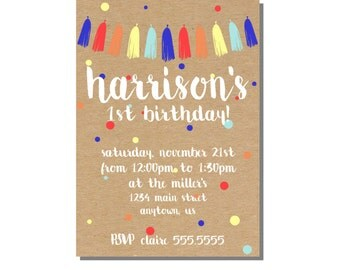 Kids Birthday Invitation Kraft Paper Invite, Confetti Birthday, Bunting Tassel Invite, One Birthday Invite - Digital File