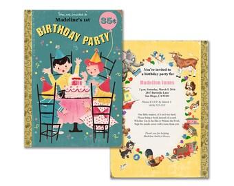 Book theme birthday invitation / printable birthday party invite / storybook theme party / retro children / editable PDF/ add your own text
