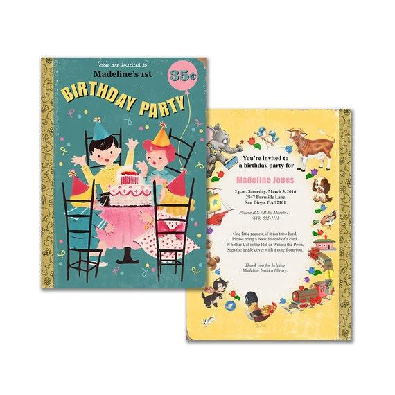 Book Theme Birthday Invitation / Printable Birthday Party