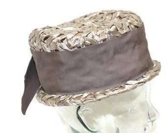 Vintage Pillbox Hat Eva Mae Modes 1960s 1950s Hat Taupe Straw Pillbox Hat