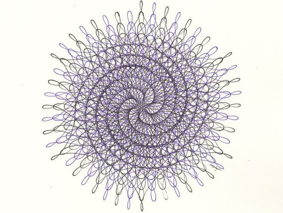 Spiral Pen Ink Drawing Geometric Abstract Art Nautilus