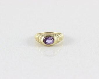 14k Yellow Gold Amethyst Ring Size 6 3/4