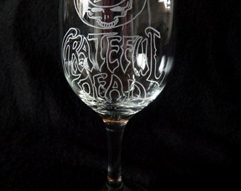 Grateful Dead Bolt Wine Glass