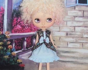 Blythe Dress ~ Bo-Peep Flower Floral Dress ~ Blythe Doll Outfit Clothes