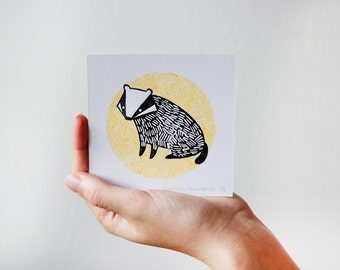 Badger Illustration Linocut Print