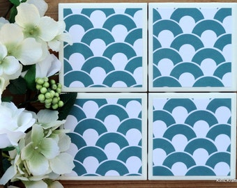 Drink Coasters - Tile Coasters - Ceramic Coasters - Ceramic Tile Coasters - Coaster Set - Table Coasters - Turquoise Coasters - Coaster