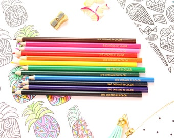 She Dreams In Color COLORED PENCIL Set, 12 Colored Pencils, Drawing, Coloring Books, Coloring, Teacher Gift, Stocking Stuffer, TED035-CP
