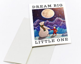 Dream Big Little One Printable Card for baby boys. Instant Download Birth Card Birthday card Illustrated birthday card gift