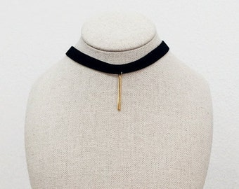 Black Choker, Bar Necklace,Black Velvet Choker,Vertical Bar Necklace