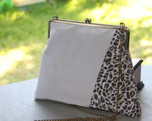 Cross body / Grey/ Leopard/ Kimono bag /Evening bag/ Metal frame/Hand-made/ Upcycling