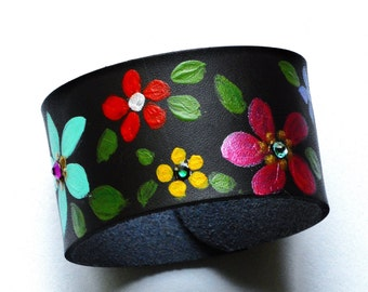 Colorful Flower Leather Cuff Bracelet Painted Bohemian Hippie Jewelry FREE SHIPPING